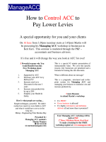 How to Control ACC to Pay Lower Levies ManageACC